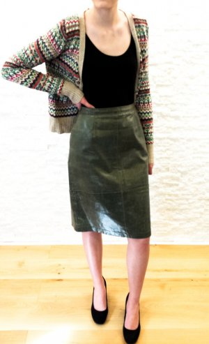 More & More Leather Skirt khaki-green grey leather