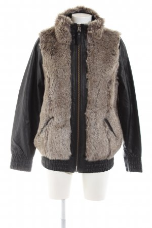 Blend Fake Fur Jacket cream-black color gradient casual look