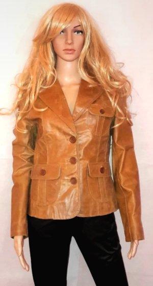 BlendShe Leather Jacket cognac-coloured leather