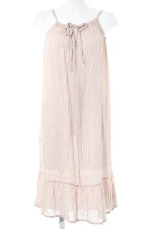 BlendShe Volante jurk wolwit-roze gestreept patroon casual uitstraling