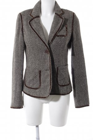 BlendShe Wool Blazer black brown-light blue herringbone pattern business style