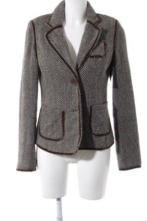 BlendShe Wollen blazer zwart bruin-lichtblauw visgraatmotief zakelijke stijl