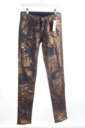 BleuLab Röhrenjeans dunkelblau-bronzefarben Metallic-Optik