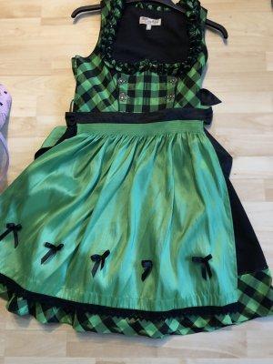 Lekra Dirndl verde-nero Cotone
