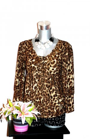Blind Date Animal Tunika Pullover Gr.40/42 Bluse Leopard