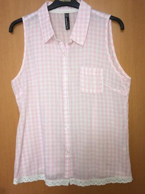 Blind Date Geruite blouse wit-roze