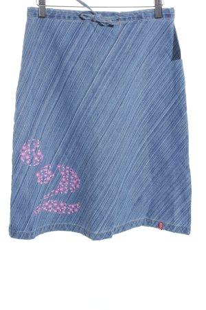 Blind Date Jeansrock kornblumenblau Motivdruck