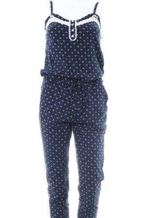 Blind Date Jumpsuit weiß-dunkelblau Punktemuster Casual-Look