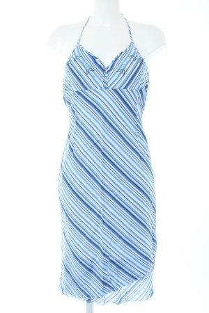Blind Date Vestido de cuello Halter azul-blanco estampado a rayas elegante