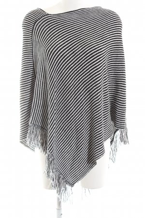 Blind Date Knitted Poncho black-white striped pattern casual look