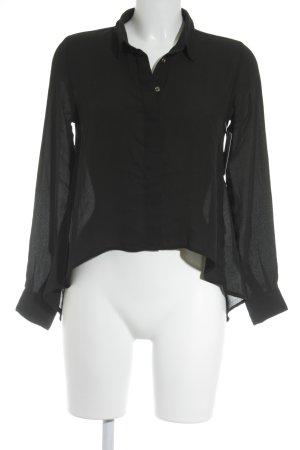 Blind Date Transparenz-Bluse schwarz schlichter Stil