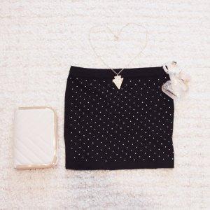 Bling Bling | Schwarzer Minirock mit funkelndem Strassstein-Besatz vorn
