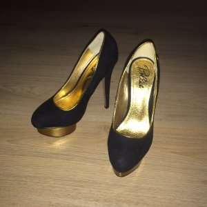 Blink High Heels Plateau Pumps Gr. 37 schwarz gold