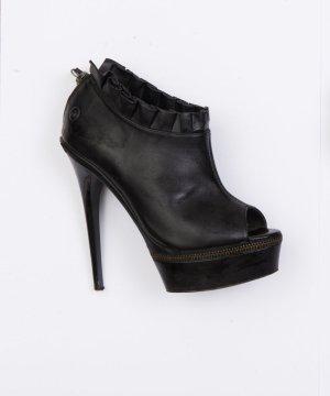 Blink Highheels aus schwarzem Leder mit Reißverschluss-Detail Größe 36