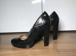 Blink Platform Pumps black-gold-colored