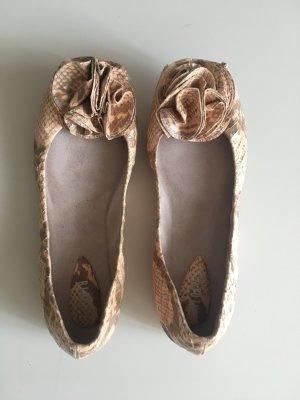 Bloch Ballerina peeptoe peep Toe zehenfrei flach Schlange snake Muster gemustert animalprint Animal Sommer beige Schlamm nude Luxus Designer hochwertig edel zeitlos rosa Rose  wild Leder