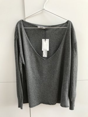 Anine Bing Jersey con cuello de pico gris
