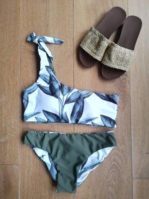 Bikini blanc-vert forêt