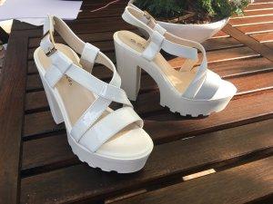 blogger blockabsatz plateau sandalette lack weiß modern
