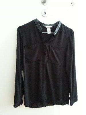 Blogger Bluse schwarz Lederkragen S 36 H&M