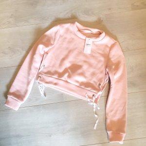 Blogger Crop Pullover Rosa mit Schleifen