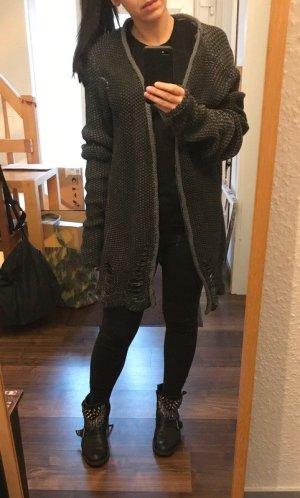 Veste tricotée en grosses mailles gris foncé-gris anthracite