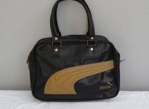 Blogger - große Puma Henkeltasche - Vintage - Blogger - schwarz gold