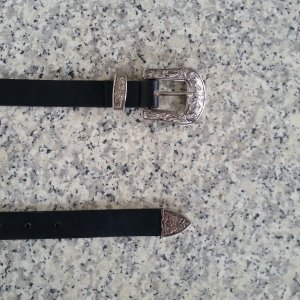 Faux Leather Belt black-silver-colored