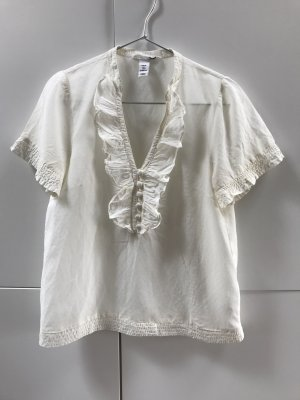 Blogger H&M Bluse mit kurzen Ärmeln und Volant Creme Weiß Gr. 36 / S - neuwertig!