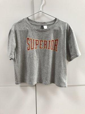 Blogger H&M Divided Cropped T-Shirt Top Grau Aufdruck Superior Gr. 34 / XS - NEU und ungetragen!