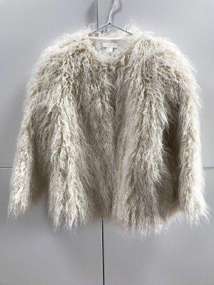 Blogger H&M Faux Fur Jacke Fransen Weiß Naturweiß Gr. 36 / S - NEU und ungetragen!