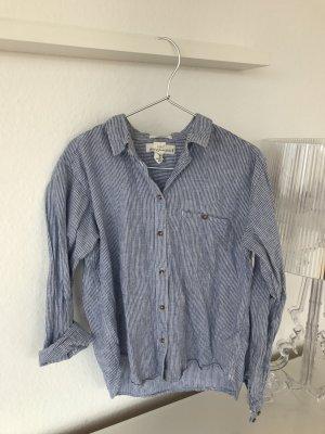 Blogger H&M Leinen Hemd Bluse Blau Weiß gestreift Gr. 36 / S - wie NEU!