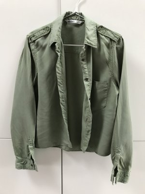 Blogger Hemd Bluse Hemdbluse Army Cropped Grün Khaki Gr. 36 / S - NEU und ungetragen!