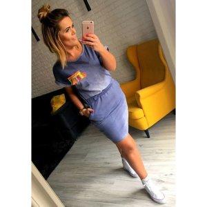 Blogger Jeans Look Mini Stretch Kleid Boho passt L