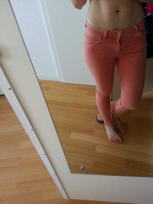 Blogger Jeans Zara Slim Fit 34 peach aprico Sommer Hose skinny