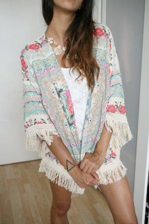 Blogger Kimono Fransen Blumen boho sommer Cardigan jacke creme xs s m zara style
