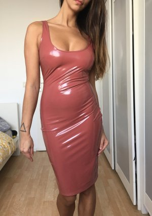 Blogger latex lack kleid maxi midi sexy mauve beige nude xs s