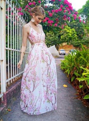 Blogger Maxi Kleid Blumen Kirschblüten bodenlang offener rücken zara style XS