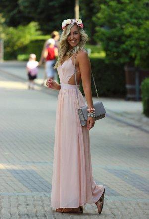 Blogger maxi kleid peach nude rose Hochzeit bodenlang traum xs s zara style