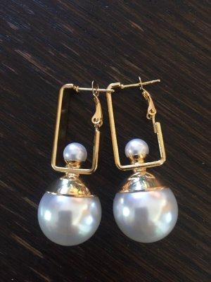 Blogger Ohrringe große Perle edel geometrisch gold metall Statement