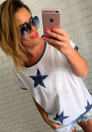Blogger oversize Shirt Tunika m. Sterne / Stars in blau-weiß passt L-XL