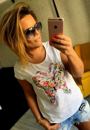 Blogger Pailletten Top T-Shirt Schmetterling Glitzer Bling Bling passt bei L-XL