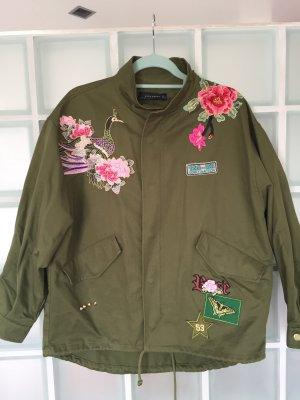 #Blogger #Parka #Zara grün Blumen Applikationen
