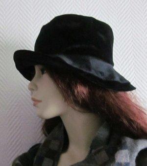 Blogger Schlapphut Hut breite Krempe schwarz Samt S M L 36 38 40 Gr.58 wie neu