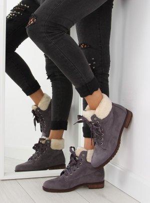 Blogger Schuhe ganz NEU mit Satinband Schnürstiefel Stiefeletten NC87 Schnürschuhe Wildleder Damen Boots Stiefel Fake Fur Teddyfell Größe 38 39 40