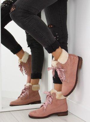Blogger Schuhe ganz NEU mit Satinband Schnürstiefel Stiefeletten Schnürschuhe Wildleder Damen Boots Stiefel Fake Fur Teddyfell Größe 36 37 38 39 40 41