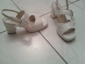 BLOGGER Schuhe Sandalette Pumps Brautschuhe Spangen Riemchen Pumps Original Creme Weiß - DORIANI -Gr 35