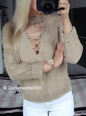 Blogger Sexy V-Cut Out Pullover Creme Beige 34/36