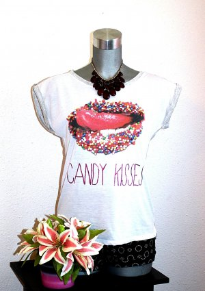 Blogger Shirt gr.40 Candy Kisses Top