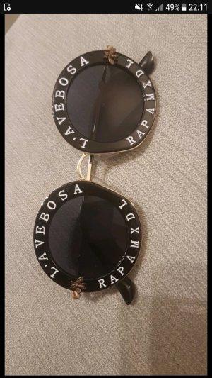 Lunettes de soleil rondes blanc-noir